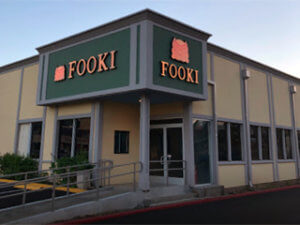 Fooki Face Lit Channel Letters at Night