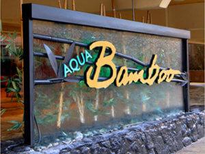 Custom Waterfall Sign for Aqua Bamboo Hotel